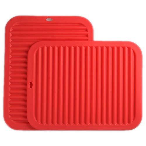 Smithcraft 9'X12' Big Silicone Trivets Table Mats Placemats Pot Holder Hot Pad Multi-Purpose Drying (Set of 2) Red