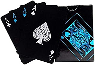 Waterproof PVC Playing cards Set, Black Poker Table cards Classic Magic Tricks Tool, Deck (54pcs)