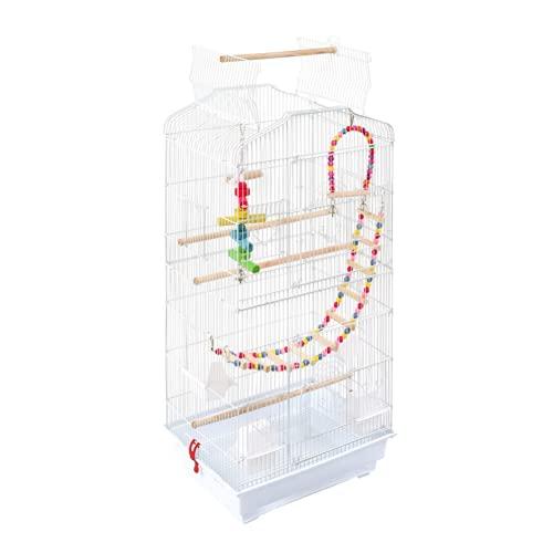 Mantimes Jaula para pájaros de 37 pulgadas, jaula de metal con tapa de juego abierta con remolque, juguetes adicionales, color blanco [3-5 días hábiles entrega urgente]