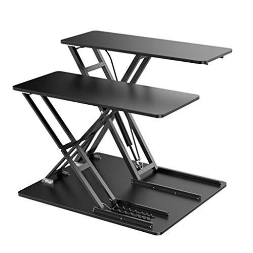 Estación de Trabajo Escritorio de Pie Levantando Permanente turística Converter,22.4'Altura ajustable Sit Riser Soporte de escritorio,monitores duales teclado extraíble Bandeja ( Color : Black )