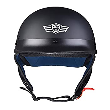 AHR Run-C Half Face Helmet DOT Approved Motorbike Cruiser Chopper Matt Black M