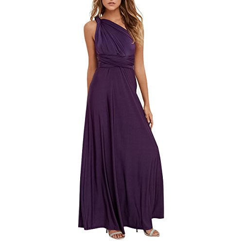 Women Transformer Convertible Multi Way Wrap Long Prom Maxi Dress V-Neck Hight Low Wedding Bridesmaid Evening Party Grecian Dresses Boho Backless Halter Formal Cocktail Dance Gown Deep Purple X-Large