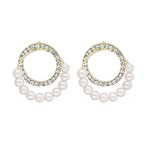 Fancysvccy Pendientes Temperamento Pendientes de circonita con Micro Incrustaciones Pendientes Pendientes de Perlas fáciles Joyería Femenina Aguja de Plata