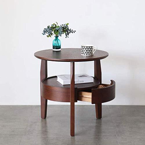 Moderna möbler soffbord runda sidobord, 2-nivå nattdukssoffa soffbord, med ekfaner och dold låda, för vardagsrum, hall, sovrumsbord sidobord nattbord