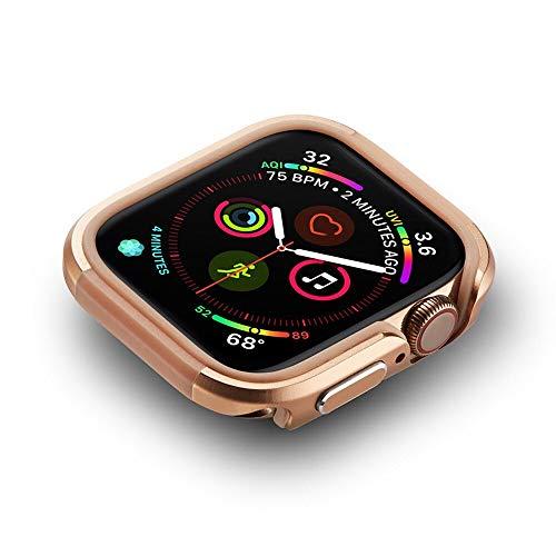 ZLRFCOK Funda de TPU y aluminio para Apple Watch Series SE 6 5 4, marco de protección de metal, carcasa de parachoques delgada para IWatch de 40 mm, 44 mm (color dorado, diámetro de la esfera: 40 mm)