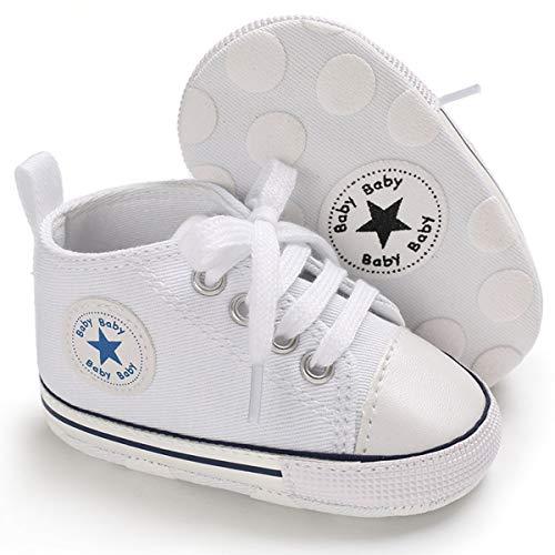 MABES WAREHOUSE Sapatos de lona para bebês – Sapatos de bebê de cano alto para meninos e meninas, tênis de sola macia para bebês, unissex, recém-nascidos, primeiros andadores, sola antiderrapante para berço, Branco, 12