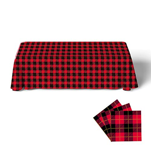 Gatherfun Disposable Birthday Tablecloth Rectangle Waterproof Oil-Proof Table Cover with Red and Black Gingham and Gold Stamping for Party Picnic Barbecue Dinner Parties (3PCS,54X108Inch)