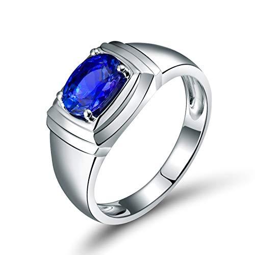 AnazoZ Silver Blue Ring Men Wedding,Wedding Rings 18 Carat White Gold Oval 1.22ct Blue Tanzanite Ring Size V 1/2