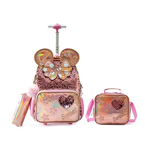 Mochila con ruedas de 16 pulgadas, mochila escolar, 3 en 1 para niñas, Rosa 3pcs Set-b, 41 cm