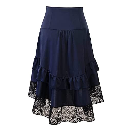 DRAGONHOO Women's School Uniform Mini Skirts Women's Gothic Halloween Lace Drawstring Patchwork Skirt Party Dress Night Out Skirt Blue