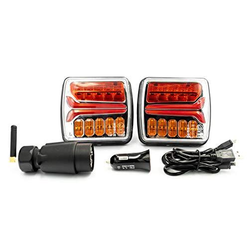 CRAWER Kabellose LED Funk- Rücklichter mit Magnet 7 Poolig 12 V IP65 Bluetooth USB Bremslicht Blinker Kennzeichenbeleuchtung Kennzeichen beleuchtung ECE-R4 ECE-R6 ECE-R7 ECE-R10 EMC Radio entstört