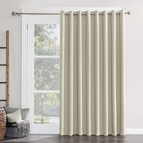 """Sun Zero 50955 Easton Extra-Wide Blackout Sliding Patio Door Curtain Panel with Pull Wand, 100"""" x 84"""", Pearl"""