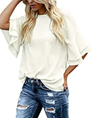 The casual loose tops comes with classic crewneck and button closure at back. This fashion loose blouse shirt features 3/4 tiered ruffle bell sleeves. Solid color. Available in beige, black and navy blue. Perfect to match with your jeans and your fav...