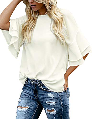 luvamia Women's Beige Casual 3/4 Tiered Bell Sleeve Crewneck Loose Tops Blouses Shirt Size S