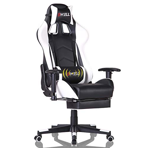 EDWELL Gaming Chair Office Chair with Footrest,High Back Computer Gaming Chair, Racing Style Ergonomic Chair PU Leather Desk Chair with Headrest and Massage Lumbar Support, White
