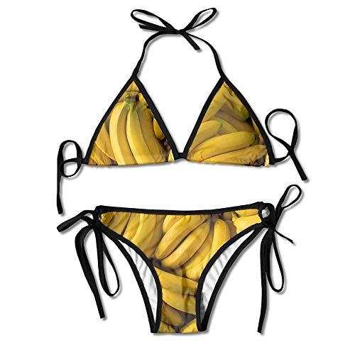 heefan Bananen Bikini Damen Sommer Badebekleidung Triangle Top Bikinis Badeanzug 2-teiliges Set
