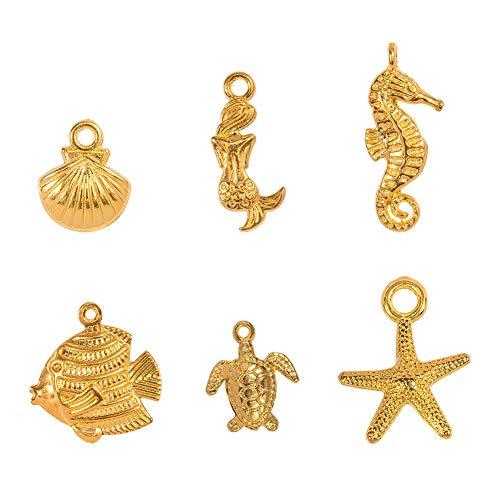 PandaHall 120 stücke 6 Arten Golden Ocean Tiere Tibetischen Legierung Anhänger Charme für DIY Halskette Armband Machen (Seestern, Seepferdchen, Meerjungfrau, Muschel, Fisch und Schildkröte)