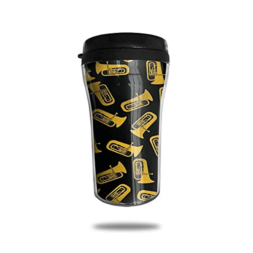 Taza de café de viaje Taza de café aislada del viaje del instrumento musical de la tuba Taza de vacío portátil de grado alimenticio Taza aislada ABS Anti-Derrame 250ml