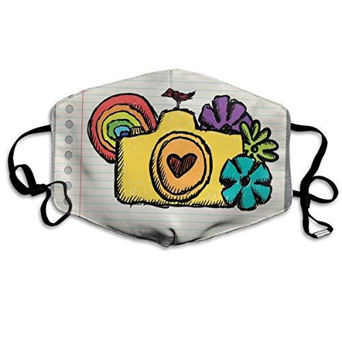 Gelbe Kamera mit Blumen von vielen Farben Mini Vogel Regenbogen auf Notebook-Druck Wiederverwendbare waschbare Gesichtsschutzhülle für den persönlichen Schutz