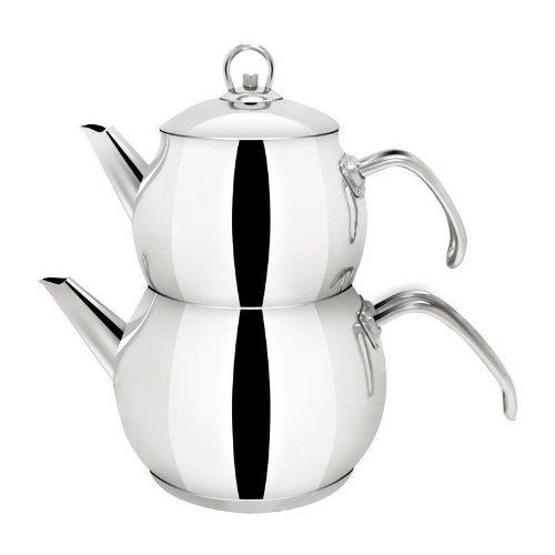 Cagla Teekanne Set mit Edelstahlgriff Türkisch Tee Teekocher Caydanlik Edelstahl mini