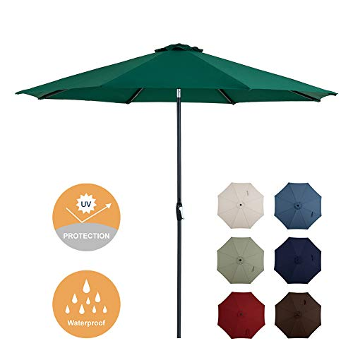 Tempera 10 Ft Patio Umbrella Outdoor Garden Table Umbrella with Crank and Auto-Tilt Function, 8 Steel Ribs in 200G ForestGreen Olefin 10' High Square Table