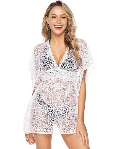 Abollria Damen Spitzen Strandkleid Durchsichtig V Ausschnitt Bikini Cover Up Locker Strand Kimono für Urlaub,Weiß,L