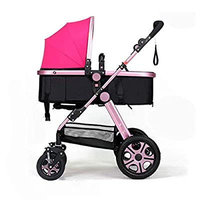 WLD Cochecito 3-en-1 Sleepable Horizontal Plegable De dos vías Cuatro ruedas Amortiguador Recién nacido Four Seasons Universal Baby Carriage,Rosado