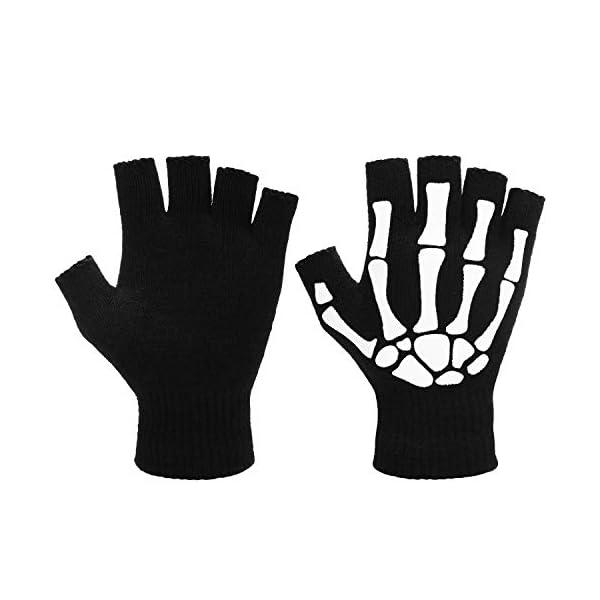 4 Pairs Halloween Skeleton Half Finger Gloves Unisex Skull Fingerless Stretch Knitted Gloves Winter Hand Warm Gloves (Style 1)