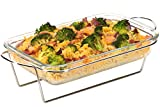 Moss & Stone Oblony Glass - Made by Borosilicate Glass | Durable, User-Friendly | Glass Baking Tray | Microwave Safe - Clear Blue Baking Dishes | Serving Set (1.7 Quart)