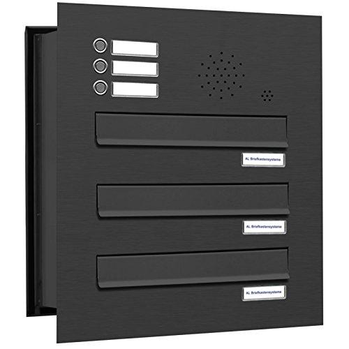 AL Briefkastensysteme 3er Briefkasten Mauerdurchwurf in Anthrazitgrau RAL 7016 mit Klingel, 3 Fach DIN A4, wetterfeste Premium Briefkastenanlage Postkasten