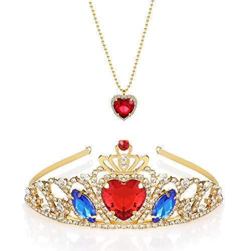 Evie Diadème doré et collier en forme de cœur rouge Evie Des