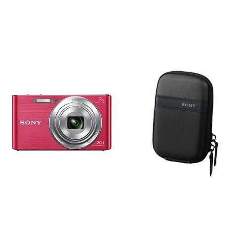 Sony Dsc-W830 Fotocamera Digitale Compatta Con Sensore Super Had Ccd Da 20.1 Mp, Zoom Ottico 8X, Video Hd, Steadyshot Ottico, Rosa & Lcstwp/B Custodia Da Trasporto Per Cyber-Shot Serie W E T, Nero