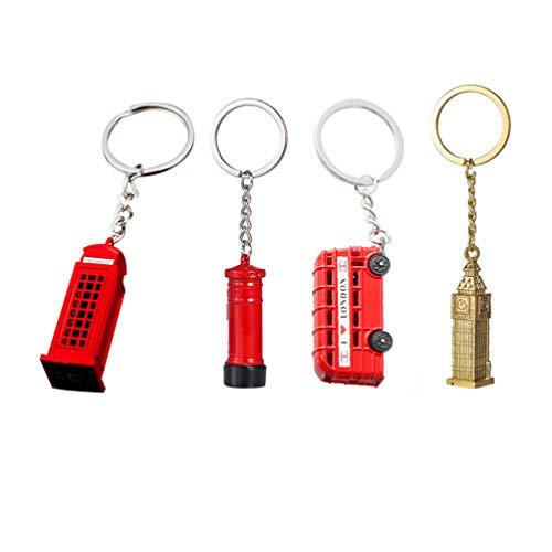 Toyvian London Schlüsselanhänger mit Telefonzelle und Bus, Big Ben London, Souvenir, Geschenk, 4 Stück