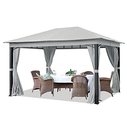 TOOLPORT Pavillon de Jardin 3x4m ALU Premium env. 220 g m² bâche imperméable pavillon 4 côtés Tente de Jardin Gris Clair env. 9x9cm Profil