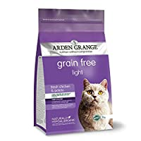 Low calorie diet for older, overweight and indoor cats Grain free recipe; no added cereals or grain Contains 26 Percent fresh chicken and 25 Percent chicken meat meal Includes prebiotics, joint supplements and yucca extract Naturally hypoallergenic