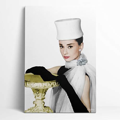Conmemorar Audrey Hepburn Póster Pintura decorativa 12'X18' 200 Iconos culturales estadounidenses Audrey Hepburn Oficina decorativa