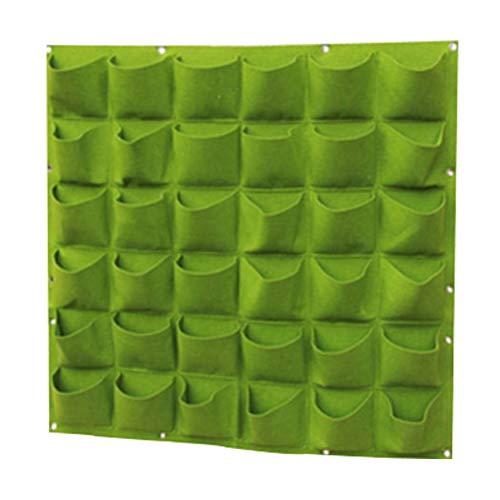 CZ-ING Sacs de plantes à suspendre - 100 x 100 cm - Pot de fleurs mural vertical pour la maison, le bureau et le jardinage à la maison avec 36 poches (vert)