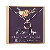 Collar Regalo Madre e Hija: Día de la Madre, Cumpleaños, Día de la Mujer, Mamá, 2 Linked Circles (Rose-Gold-Plated-Brass, NA)