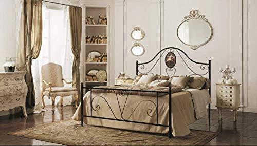 Letto Matrimoniale, Ferro BATTUTO, Modello Sofia, con Medaglione, 100% Made in Italy (Nero, Sfumature Oro)