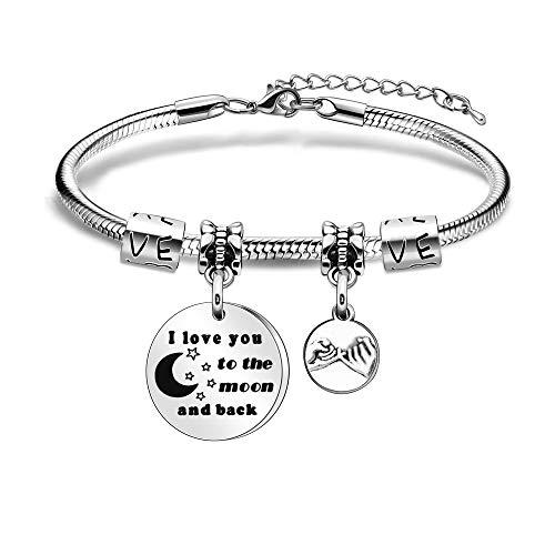 Pulsera de plata con texto en inglés 'I Love You to the Moon and Black Jewllery para mujer y niña, regalo de cumpleaños
