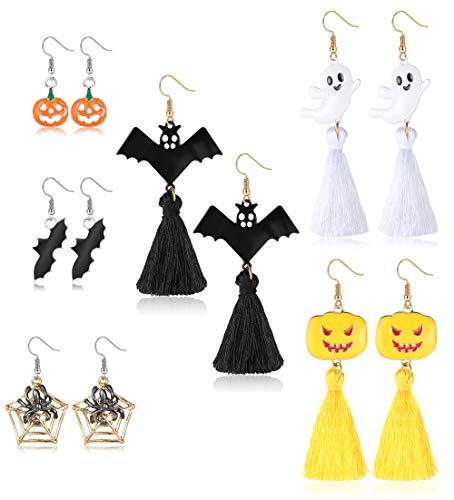 CASSIECA 6 Paia Orecchini di Halloween per Donne Ragazze di Cranio Pipistrello Ragno Fantasma Gatto Nero Pendente Orecchino Set Gioielli Decorazioni Halloween da Festa