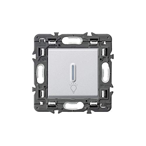 Pulsador luminoso con símbolo de lámpara 6A 230V, modelo Valena Next, color aluminio, 6 x 8,5 x 8,5 centímetros (referencia: Legrand 741389)
