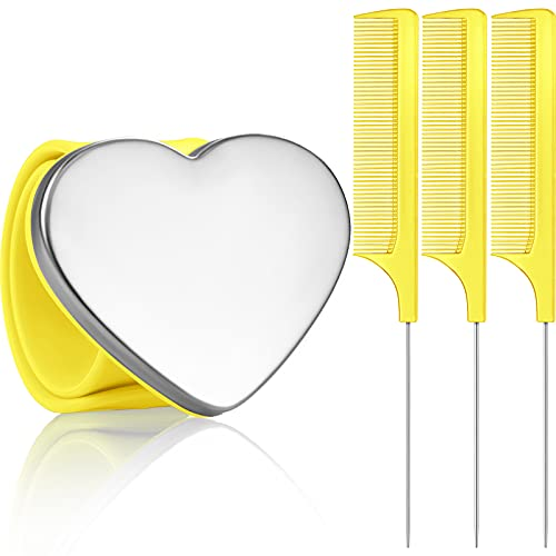 Magnetic Wrist Sewing Pincushion Wrist Magnetic Pin Holder Wristband Pin Cushion Holder with 3 Pieces Stainless Steel Pintail Comb Rat Tail Comb Parting Comb for Hair Clips Hand Sewing (Yellow)
