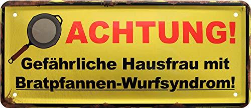 Attention aux habitations Dangereux. Avertissement ! Rahmenlos 1346 Plaque métallique décorative 28 x 12 cm