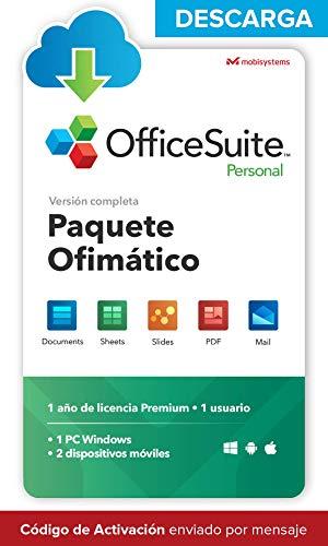 OfficeSuite Personal - DESCARGA / Licencia Online - Compatible con Office Word® Excel® y PowerPoint® y PDF para PC Windows 10, 8.1, 8, 7 - licencia de 1 año, 1 usuario
