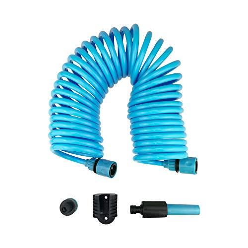 Quantio Spiral-Gartenschlauch Set - 10 m Länge - inkl. Düse, Schlauchanschlüsse, Wasserhahnanschluss und Wandhalterung mit Schrauben - Menge und Farbe wählbar, Farbe:Blau, Stückzahl:1 Stück