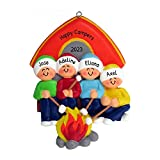 Personalized Camping Family of 4 Christmas Tree Ornament 2020 - Camper Parents Children Friends Roasting Marshmallow Camp Fire Tent Outdoor Activity Vacation - Free Customization (Four)