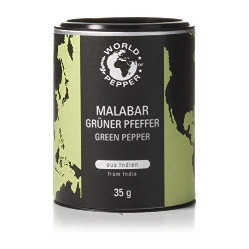 Grüner Pfeffer aus Malabar - World of Pepper - 35g - grüne Pfefferkörner aus von der Küste Indiens - Premium Qualität mit Zufriedenheitsgarantie