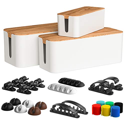 Cable Management Box 3 Pack with 16 Cable Clips Set-Large & Medium & Small Wooden Style Cable Organizer Box to Hide Wires&Power Strips | Cord Organizer Box | Cable Organizer for Home & Office [White]