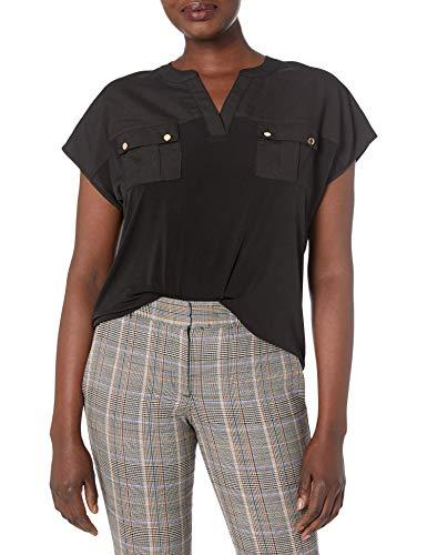 Calvin Klein Damen Short Sleeved V Neck Top with Pockets Henley Shirt, schwarz, X-Klein
